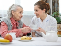 Women eating at care home